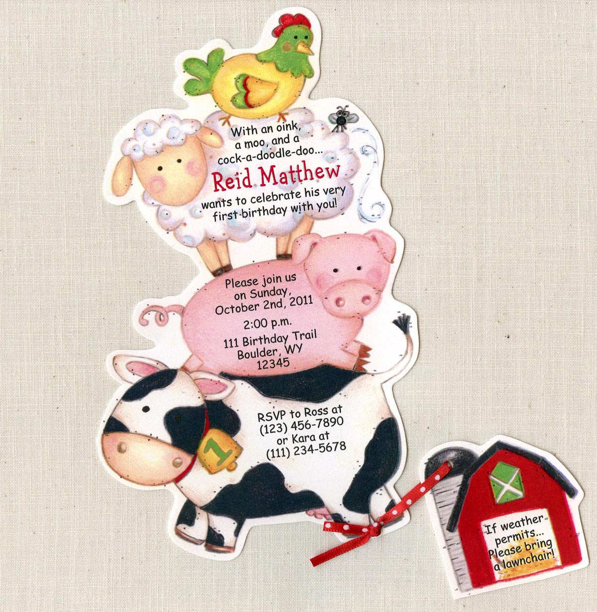 Farm Animal Birthday Party Invitations