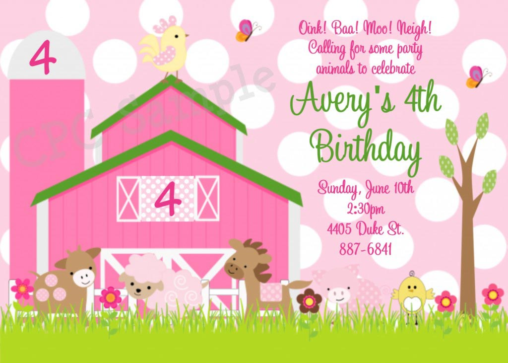 Farm Invitations Birthday Party