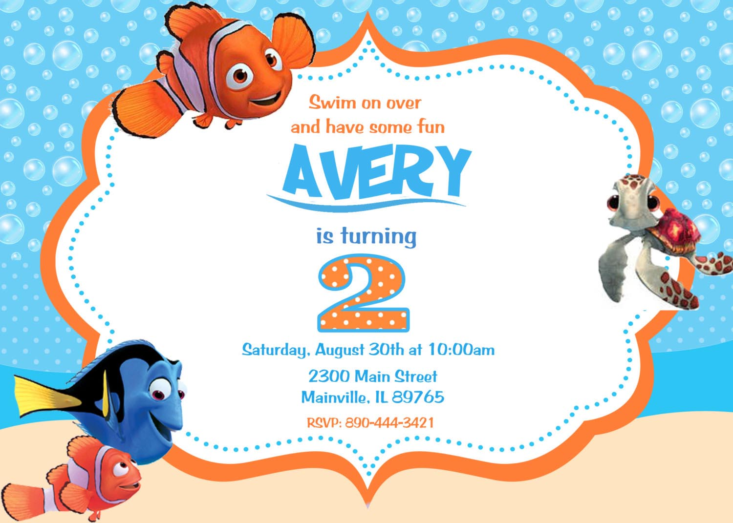Finding Nemo Birthday Party Invitations
