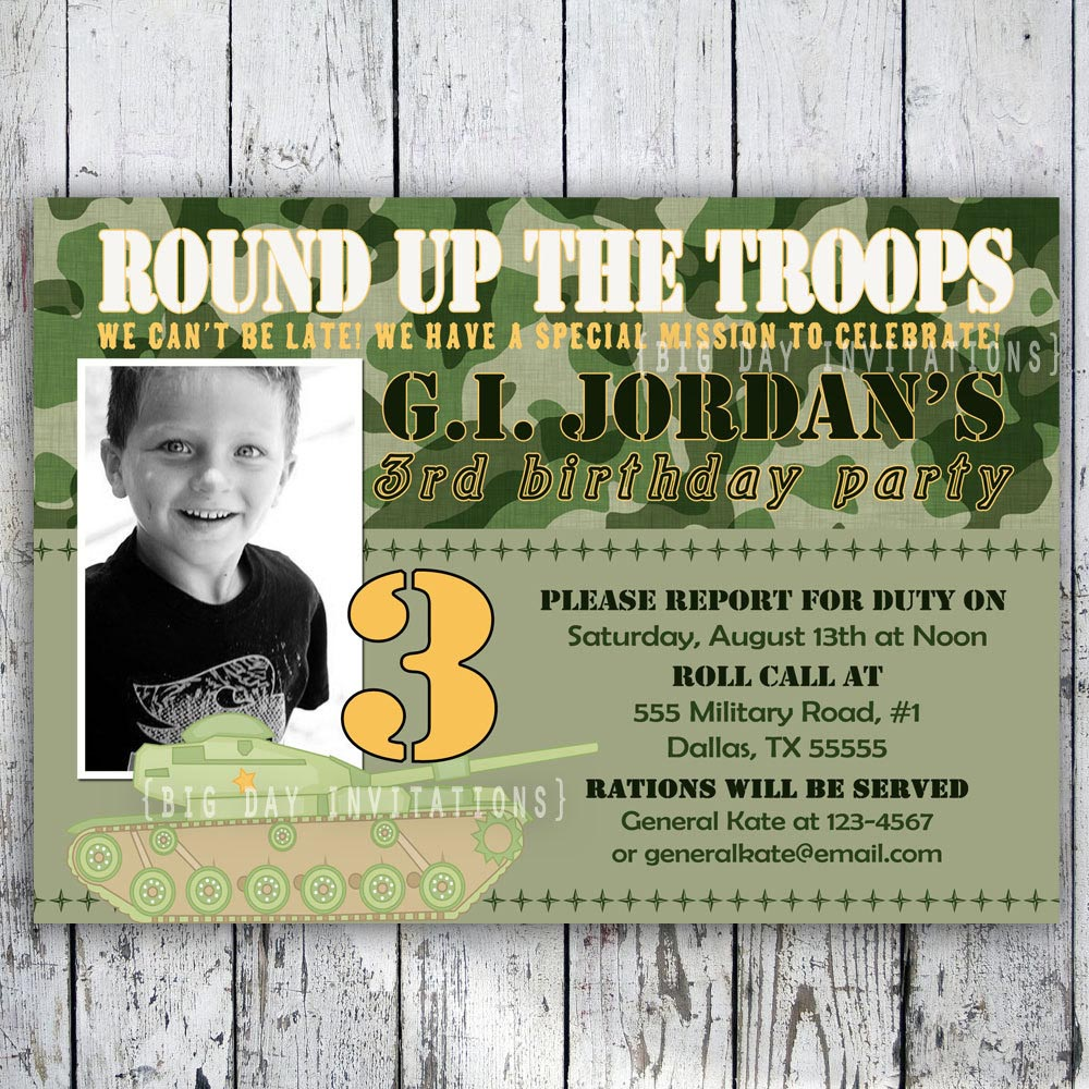Free Printable Army Birthday Party Invitations