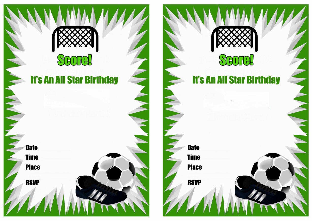 Free Printable Soccer Birthday Party Invitations – Invitations Birthday Party Free Printable