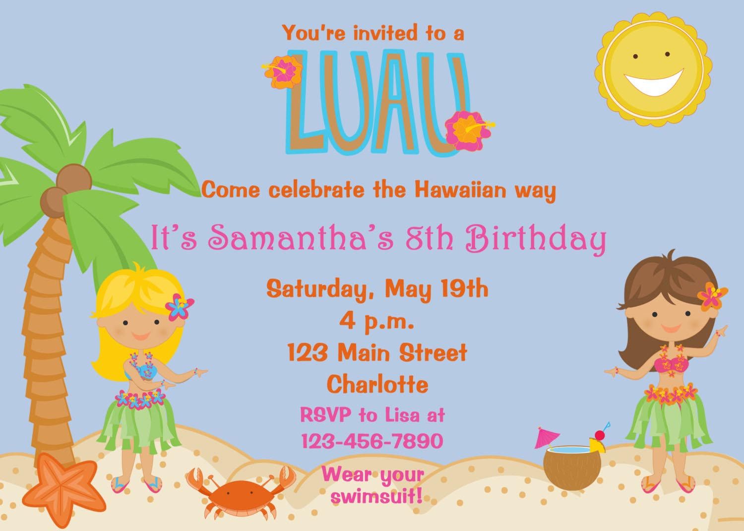 Hawaiian Birthday Party Invites