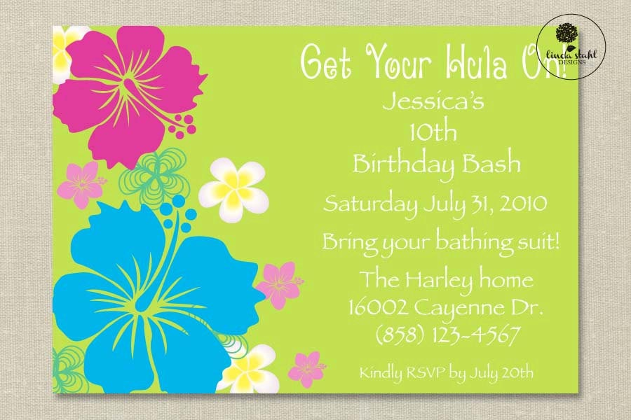 Hawaiian Themed Birthday Party Invitations – Hawaiian Theme Party Invitations