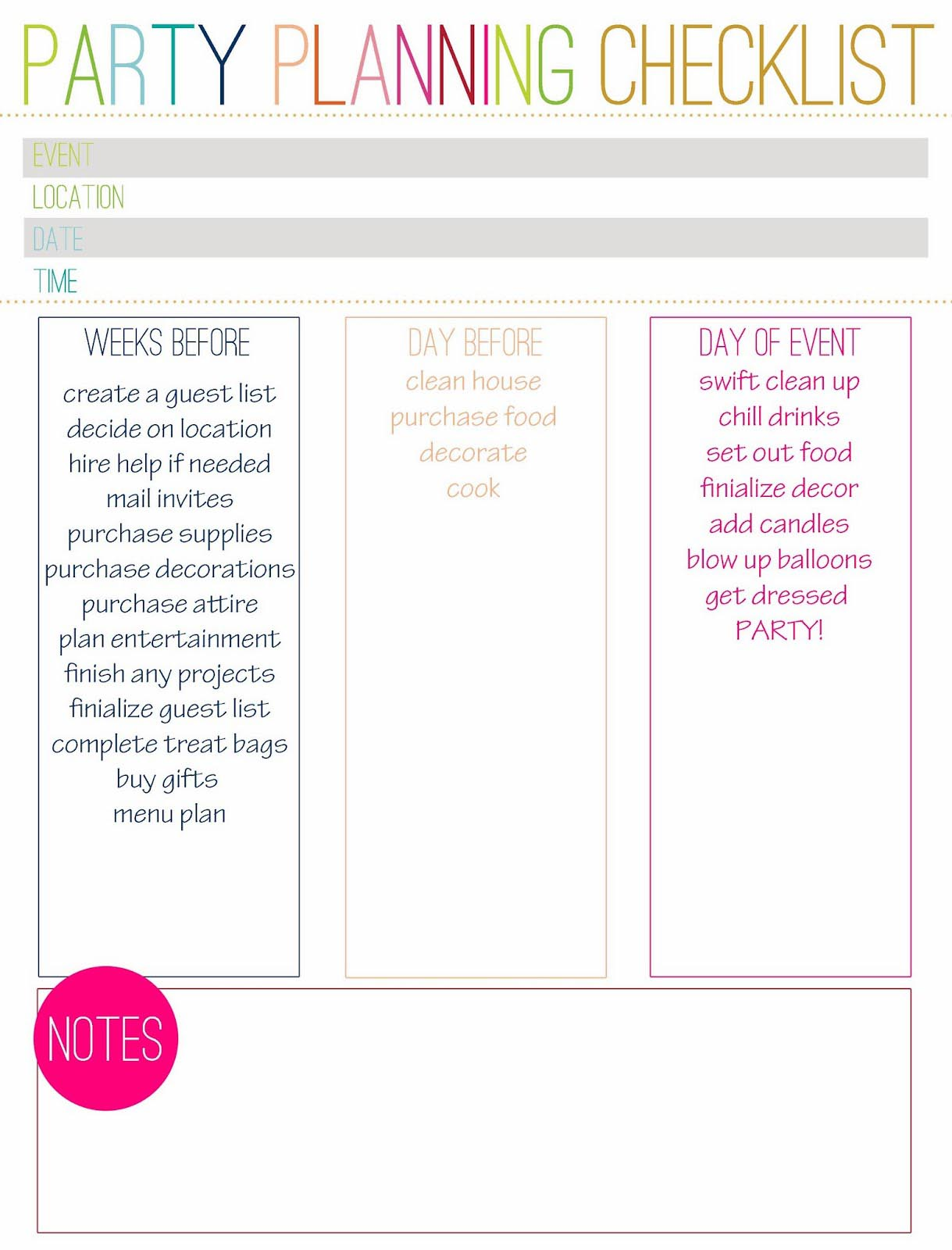 Birthday Party Planning Checklist Template Create A Wanted