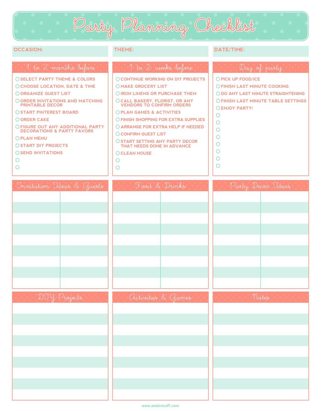 Kid Party Planning Checklist