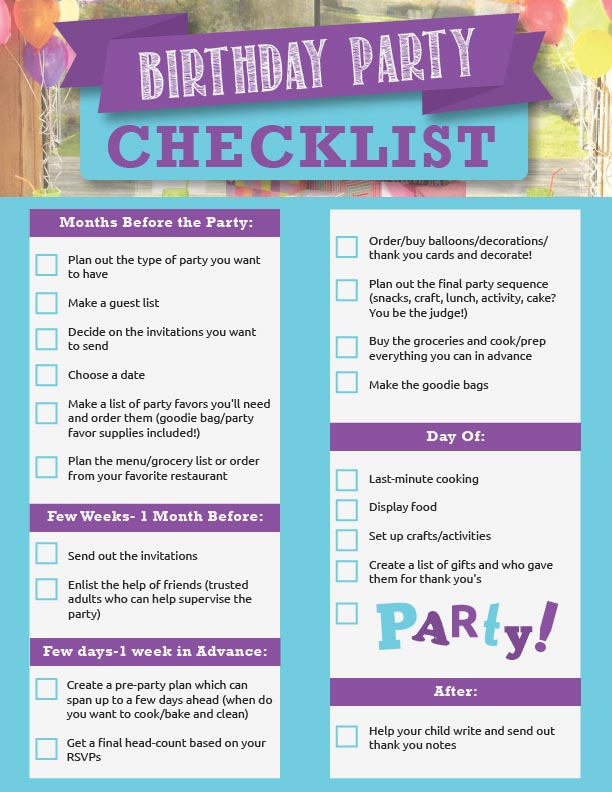 Planning A Th Birthday Party Checklist  Home Party Ideas