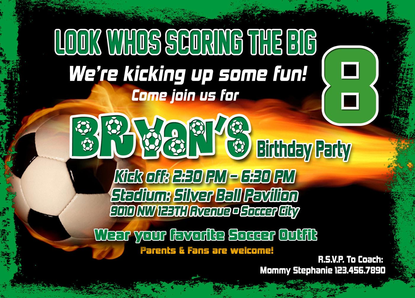 Soccer Birthday Party Invitation Template
