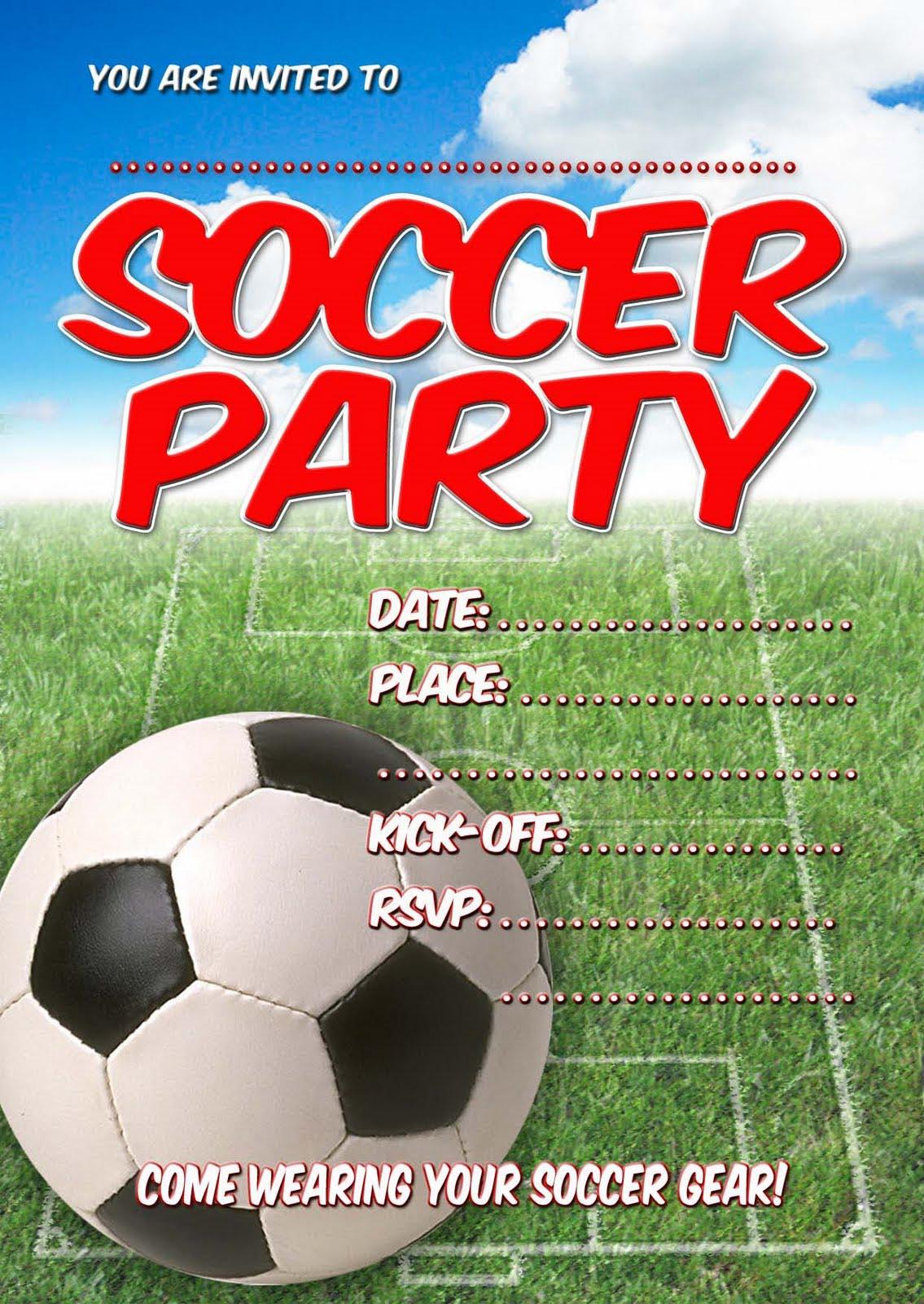 Soccer Birthday Party Invitations Free