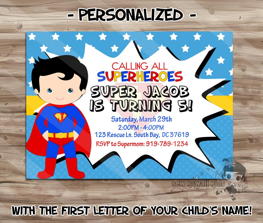 Superman Birthday Party Invitations Printable | Home Party ...