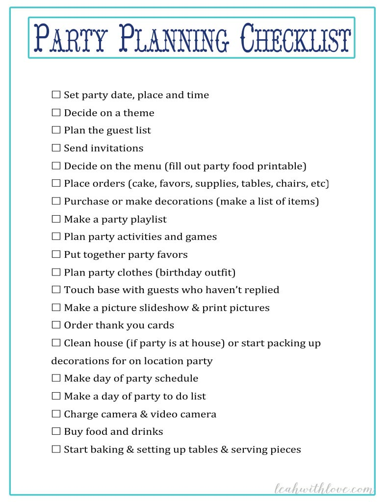 Sweet 16 Party Planning Checklist