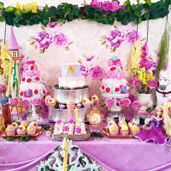 Tangled Rapunzel Birthday Cake Party Decorating Ideas